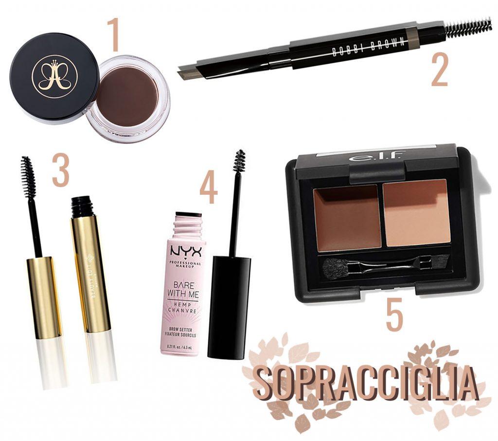 prodotti sopracciglia anastasia beverly hills bobbi brown, nyx professional make up elf cosmetics
